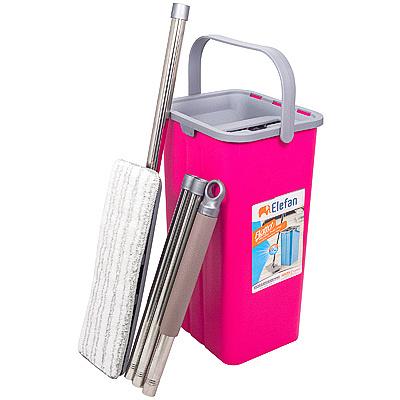 Купить набор одноведерный 9 л с отжимом шваброй и мопом flatto пластик розовый hunter 1/1 в Москве