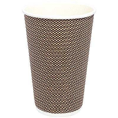 Купить стакан бумажный 400мл d90 мм 2-сл для горячих напитков гофрированный клетка pps 1/50/500 в Москве