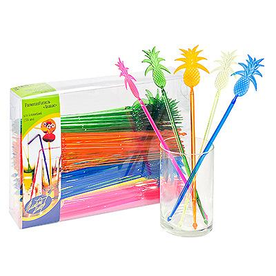Купить размешиватель декоративный ананас н235 мм 100 шт/уп пластик разноцветный пласт-лидер 1/10 в Москве
