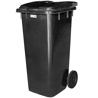 Купить бак мусорный прямоугольный 120л дхшхв 600х480х960 мм на колесах пластик черный bora 1/3 (арт. 996) в Москве