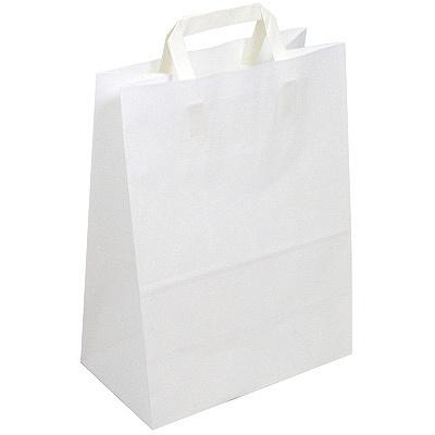 Купить пакет бумажный крафт дхшхв 320х200х370 мм с плоскими ручками белый