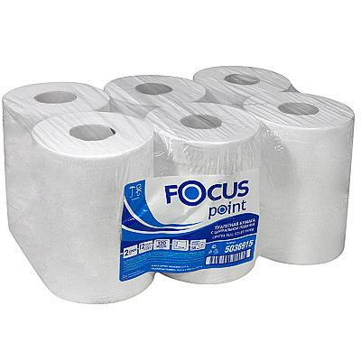 Купить бумага туалетная 2-сл 120 м в рулоне*12 с центр вытяжением н110хd160 мм focus point белая hayat 1/1 (арт. 5036915) в Москве
