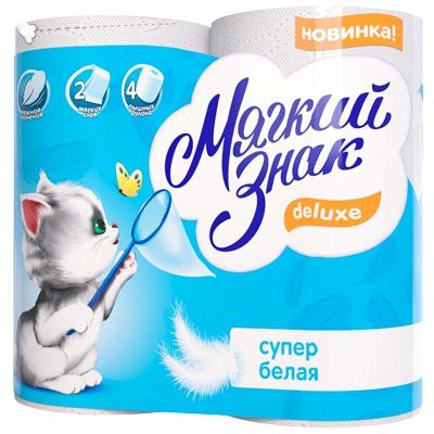 Купить бумага туалетная 2-сл 4 рул/уп мягкий знак deluxe белая сцбк 1/24 в Москве