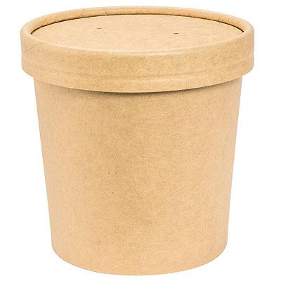 Купить контейнер бумажный 340мл н85хd70 мм для горячего, холодного с крышкой крафт gdc 1/25/250 в Москве