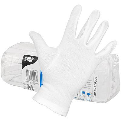 Купить перчатки m 12 пар/уп хлопок белые papstar 1/12 (арт. 12420) в Москве
