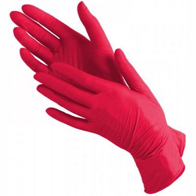Купить перчатки одноразовые нитриловые m 100 шт/уп красные 1/10 в Москве