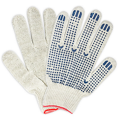 Купить перчатки рабочие 4 нити с пвх (точка) хб белые 1/10 в Москве