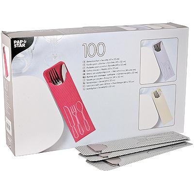 Купить куверт (конверт) для столовых приборов дхш 235х72 мм 100 шт/уп с салфеткой серый papstar 1/5 (арт. 81012) в Москве