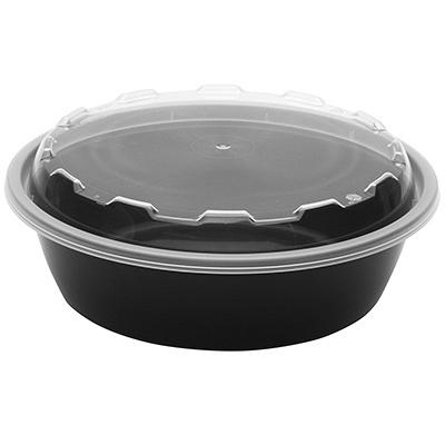 Купить контейнер 530мл н67хd150 мм с прозрачной крышкой круглый pp черный пп 1/150 в Москве