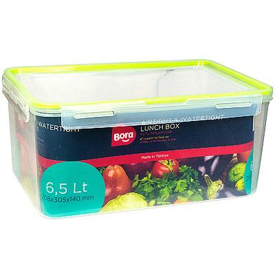 Купить контейнер герметичный прямоугольный 6.5л дхшхв 208х305х140 мм крышка на защелках полоса салатовая пластик bora 1/24 (арт. 889) в Москве